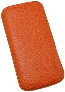Suncase Original Echt Ledertasche mit Rückzugfunktion für Samsung Galaxy S4 i9505 vollnarbig-orange