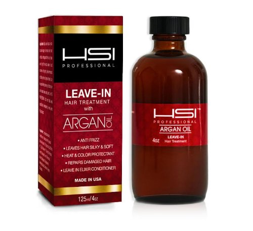 HSI PROFESSIONAL Argan Oil LEAVE IN CONDITIONER flat iron thermal protector leaves hair silky and shiny 4oz BOTTLE