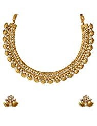 Ethnic Indian Bollywood Jewelry Set Golden Shell Design Pearl Polki Necklace SetABNE0333WH