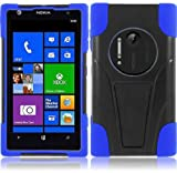 LF Dual Protection Hybrid Case With T Stand Lf Stylus Pen & Lf Screen Wiper Bundle Accessory for AT&T Nokia Lumia Elvis 1020 (Black / Blue)
