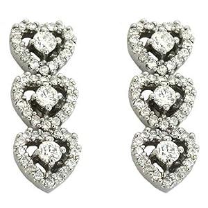 14k White 0.97 Ct Diamond Earrings - JewelryWeb