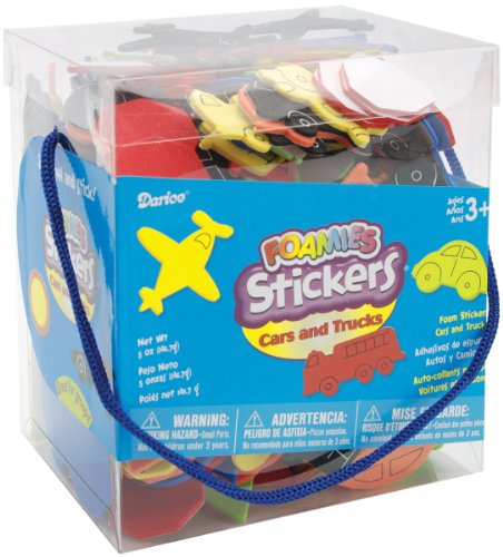Darice 1040-75 Bucket of Foamies Stickers, Cars and Trucks, 5-Ounce