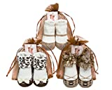 Baby Emporio-3 Pairs BROWN Mary Jane Baby Girl Socks - Organza Gift Pouches - 0-9 months