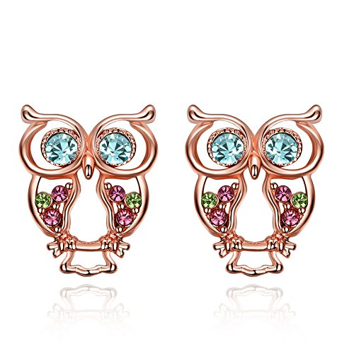 icareu-rose-gold-plated-colorful-czechic-diamond-owl-stud-earrings-for-women-girls