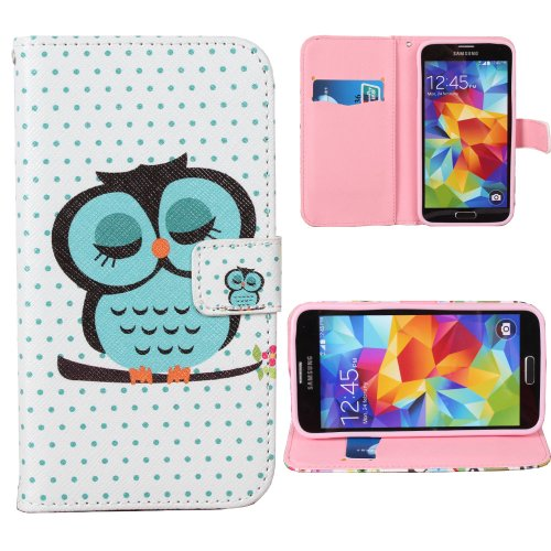 Teenitor(Tm) Cute Sleeping Owl Printed Pu Leather Credit Card Wallet Flip Case For Samsung Galaxy S5 With Screen Protector, Stylus, Earphone Cable Organizer (Shipping From Usa)