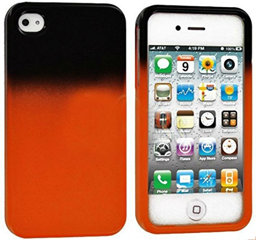 Mylife Orange And Black - Two Tone Series (2 Piece Snap On) Hardshell Plates Case For The Iphone 4/4S (4G) 4Th Generation Touch Phone (Clip Fitted Front And Back Solid Cover Case + Rubberized Tough Armor Skin) front-353136