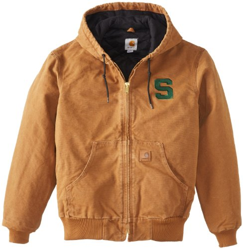 Ncaa Michigan State Spartans Men'S Quilted Flannel Lined Sandstone Active Jacket, Carhartt Brown, Medium front-921551