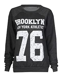 Fast Fashion - Sweatshirt Geek Brooklyn Boy Aigle Impression - Femme (EUR (36-38), Brooklyn - Charbon)