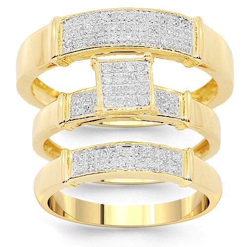 10K Yellow Gold Diamond Wedding Band Set 0.26 Ctw