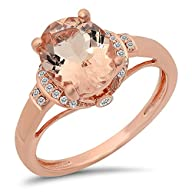 10K Rose Gold Oval Cut Morganite & Round Cut White Diamond Ladies Bridal Promise Engagement Ring