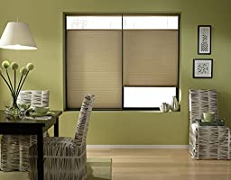 Custom Top Down Bottom Up Cordless Cell Shades, 41W x 37H, Amber