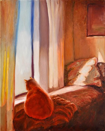 "00166 Canvas Art for Wall Decor – REGISTERED ARTWORK- Giclee Painting Collection "" A Day in a Life of a Cat"" by Lena Kashigin Three Panel Home Decor Artwork – Registered Limited Edition"