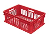 Akro-Mils 37608 24-Inch by 16-Inch by 8-Inch Straight Wall Container Plastic Tote with Mesh Sides and Mesh Base, Case of 4, Red