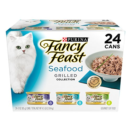 Fancy Feast Wet Cat Food, Grilled, Seafood Feast Variety Pack, 3-Ounce Can, Pack of 24 (Cheap Canned Goods compare prices)