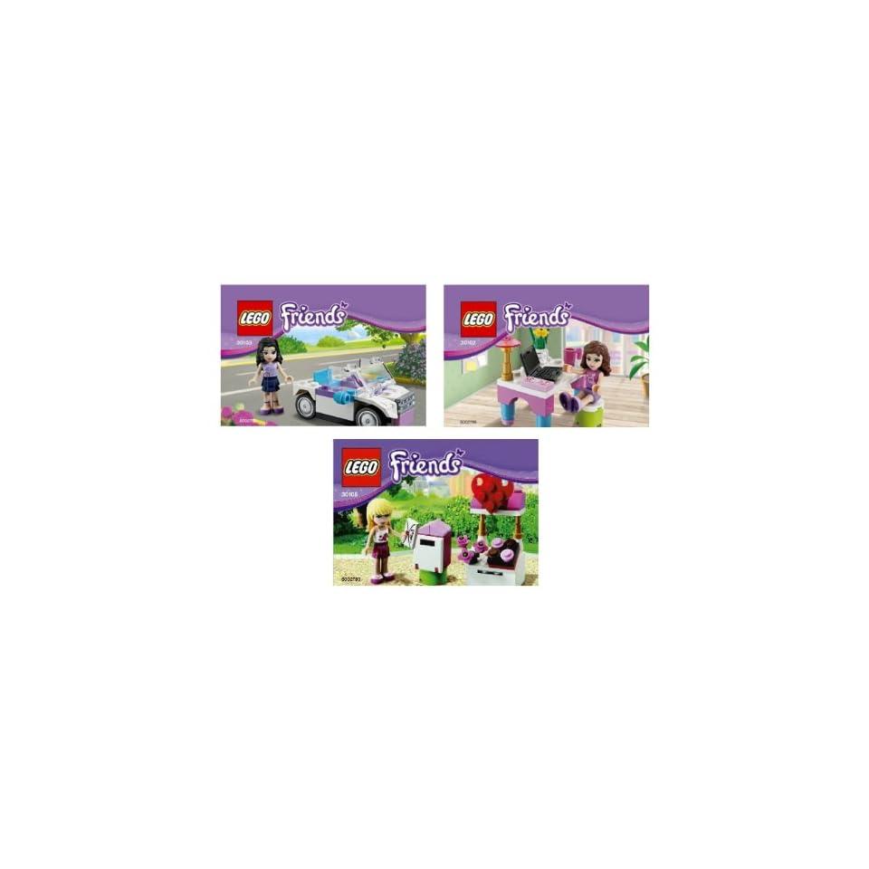 Lego Friends 30102 Olivias Laptop & Desk, 30103 Emmas Car, 30105 Stephanies Valentine Mailbox Polybags