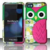 Green Pink Owl Design Hard Cover Case for Blackberry Z10 by ApexGears