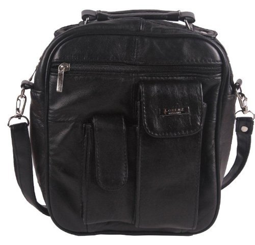 Black Leather Shoulder Man Bag Travel Organiser or Camera Bag with phone/ipod pocket on front