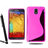 Samsung Galaxy Note 3 N9000 N9005 Grip Wave S Line Silicone Case Cover + Screen Protector + Stylus (Pink)