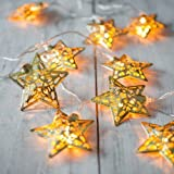 Velice Battery Operated Warm White LED Fairy Lights 10 Metal Star String Decoration Light for Festival Halloween Christmas Party Wedding (Gold)