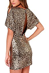 Sheinside Women's Gold Short Sleeve Split Back Sequined Dress