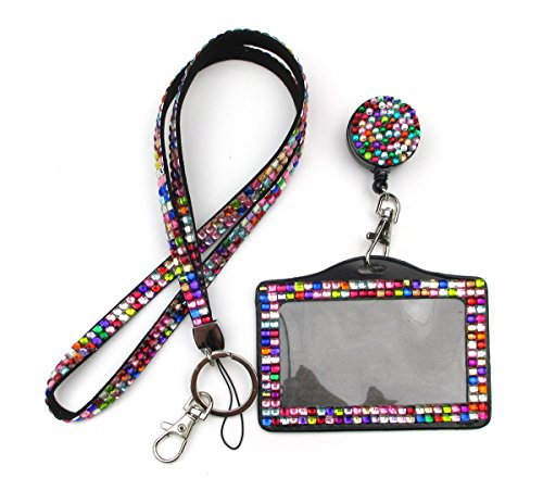 ALL in ONE Rhinestone Lanyard Bling Crystal Necklace + Badge Reel + Horizontal Card Holder for Business Id/key/cell Phone (COLORFUL) (Crystal Holder Necklace compare prices)
