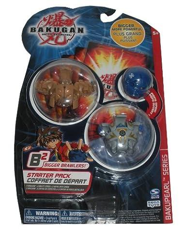 Bakugan Battle Brawlers Bakupearl B2 Series Starter Pack (Tan) Tigrerra (Grey)Warius (Blue)Mystery - Skyress Starter Pack