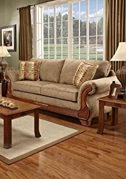 Chelsea Home Furniture Shannen Sofa, Radar Mocha/Funhouse Salsa