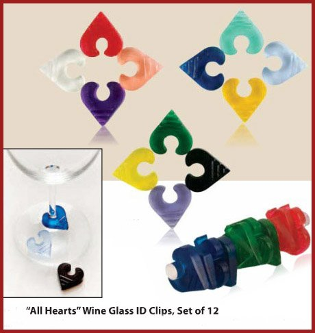 All Hearts Translucent Wine Glass Stem ID Clips (Set of 12)