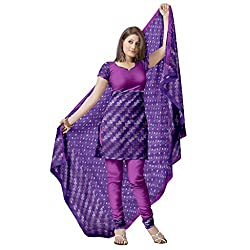 Violet Kota Dress Material with All Over Zari Buttis