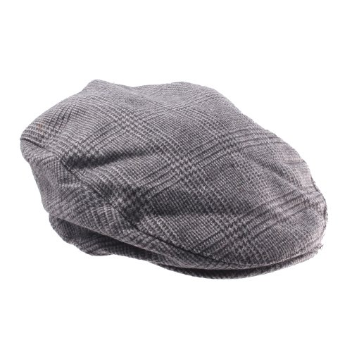 Traditional Grey & Black Dog tooth Style Flat Cap in Various Sizes