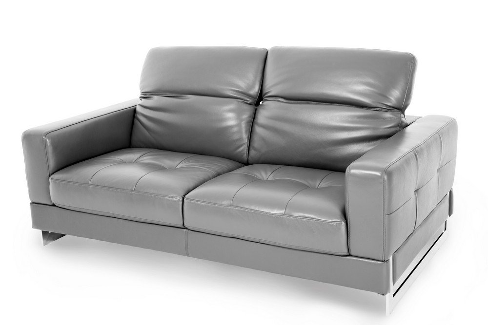 Michael Amini Novelo Leather Loveseat - Dark Grey/Stainless Steel