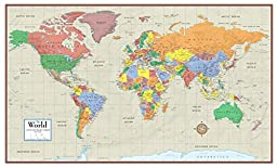 Swiftmaps World Contemporary Elite Wall Map Folded Paper 24h x 36w