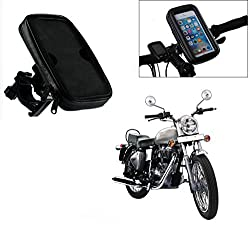 Auto Pearl -Waterproof Motorcycle Bikes Bicycle Handlebar Mount Holder Case(Upto 5.5 inches) For Cell Phone - royal enfield bullet electra twinspark