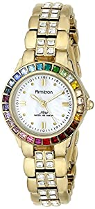 Armitron Women's 75/3689MPGPRB Multi-Color Swarovski Crystal Accented Gold-Tone Bracelet Watch