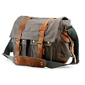 GEARONIC TM Men's Vintage Canvas and Leather Satchel School Military Shoulder Bag Messenger