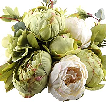 Leagel Fake Flowers Vintage Artificial Peony Silk Flowers Bouquet Wedding Home Decoration, Pack of 1 (Green)