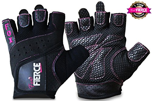 Womens Weightlifting Gloves plus FREE Padded Figure 8 Lifting Straps for Powerlifting-Gym-Crossfit-Weight Training-Biking-Cycling-Best for Comfort-Grip and Callus Protection-WashableFREE Fox Fierce Fitness Workout for Women Ebook (Lifting Straps Padded compare prices)