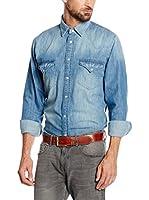 Cortefiel Camisa Vaquera Denim Aged Western (Azul)