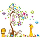 Giant Wall Decals for Kids Rooms, Nursery, Baby, Boys & Girls Bedroom - Peel & Stick, Large Removable Vinyl Wall Stickers - 106 Individual Sticker of Tree, Cute Animals, Owl and Colorful Flowers