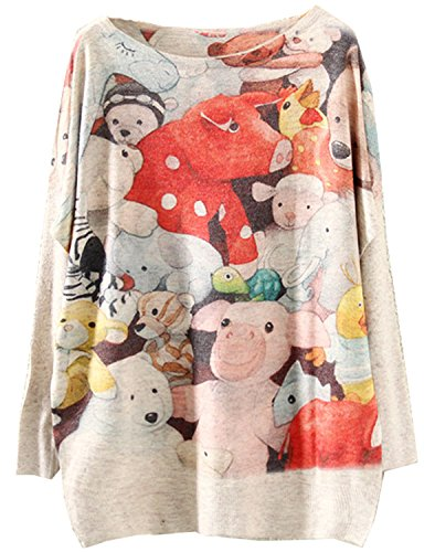 Mooncolour Women'S Winter Novelty Christmas Cat Print Jumpers Sweater (M/Us 8-10/Uk 12-14/Eu 40-42, #X1_Cute Pigs)