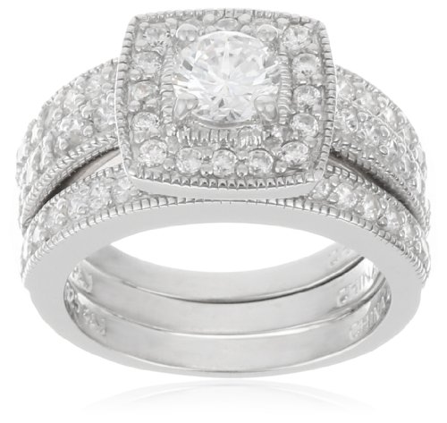 Platinum Plated Sterling Silver Round Diamond Simulant Pave Bridal Set with Two Piece Matching Wedding Bands, Size 6