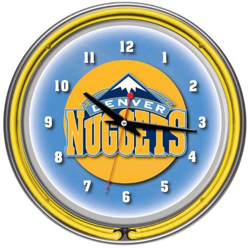 NBA1400-DN-Denver Nuggets NBA Chrome Double Ring Neon Clock