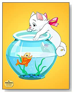 Kitten On A Fishbowl Notebook - Cute cartoon kitten hanging on the side of a fishbowl makes a fun and colorful cover for this blank and wide ruled notebook with blank pages on the left and lined pages on the right.