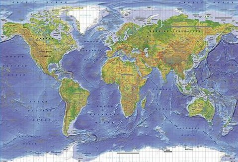 World map poster huge laminated encapsulated world map terrain poster measuring 36 x 24 inches 915 x 61 cm gumiabroncs Images