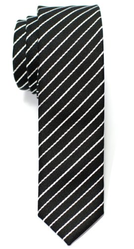 Retreez Classic Thin Stripe Woven Skinny Tie - Black with White Thin Stripe (Mens Retreez Skinny Ties compare prices)