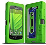 ONX3 Blackberry 9860 Torch Green Retro Cassette Tape Silicone Case Skin Cover + LCD Screen Protector Guard