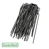 GardenMate 100-Pack 6'' 11 Gauge HEAVY-DUTY U-Shaped Garden Securing Pegs - Sod staples ideal For Securing Weed Fabric, Landscape Fabric, Netting, Ground Sheets And Fleece - Sod Staples, Garden Spikes, Fence Anchors, Landscape Fabric Staples, Anchor Pins, Garden Pegs, Loop Stakes
