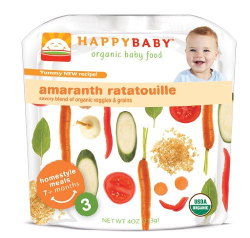 Baby / Child Happy Baby Organic Baby Food 3 Homestyle Meals 4 Ounce Pouches Pack Of 16 - Amaranth Ratatouolle Infant
