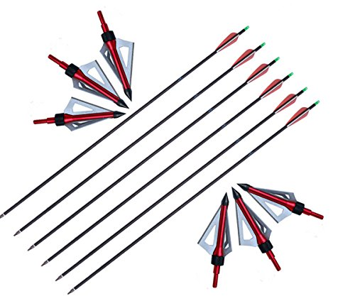 Huntingdoor-Adult-Carbon-Arrows-30-Inch-HuntingTarget-Practice-Archery-Arrows-with-3-Blade-100-Grain-Broadheads-Pack-of-6
