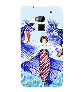 PrintVisa Fashion Fish Girl Dress Design 3D Hard Polycarbonate Designer Back Case Cover for HTC One Max